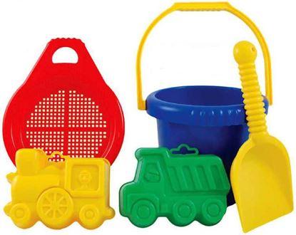 Obrázek Kbelík, sítko, lopatka a bábovičky na písek