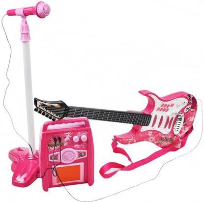 Obrázek Dětská rocková elektrická kytara + mikrofon a zesilovač - růžová