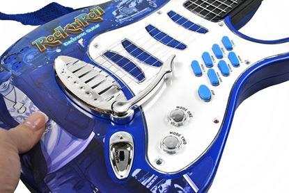 Obrázek Dětská rocková elektrická kytara + mikrofon a zesilovač - modrá