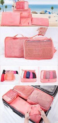 Obrázek z Sada cestovních organizérů do kufru - světle růžová