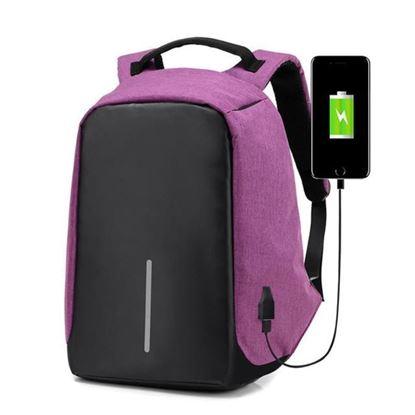Obrázek Bezpečnostní batoh s USB nabíječkou - fialový