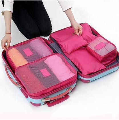 Obrázek z Sada cestovních organizérů do kufru - tmavě růžová