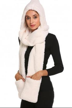 7753c70b830 ... Obrázek Šála s kapucí a rukavicemi 3v1 - bílá