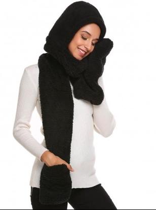 Obrázek Šála s kapucí a rukavicemi 3v1 - černá