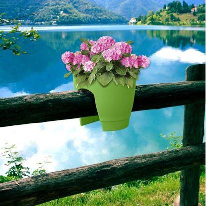 Obrázek Květináč na zábradlí - zelený
