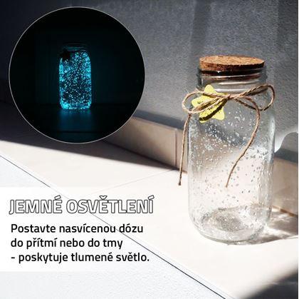 Obrázek z Svítící skleněná dóza - bílá/tyrkysová
