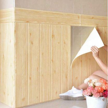 Obrázek 3D tapeta - světlé dřevo 5 ks