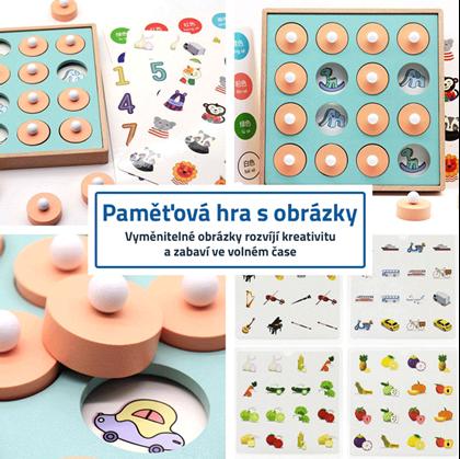 dřevěná hračka s obrázky pro děti