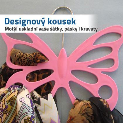 růžové ramínko ve tvaru motýla